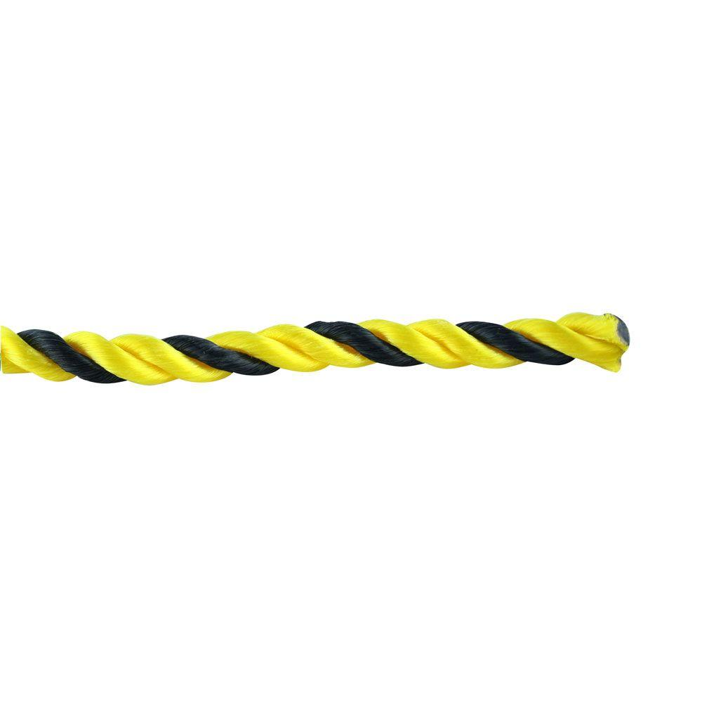 1/2 in. x 300 ft. Black and Yellow Twisted Polypropylene Rope