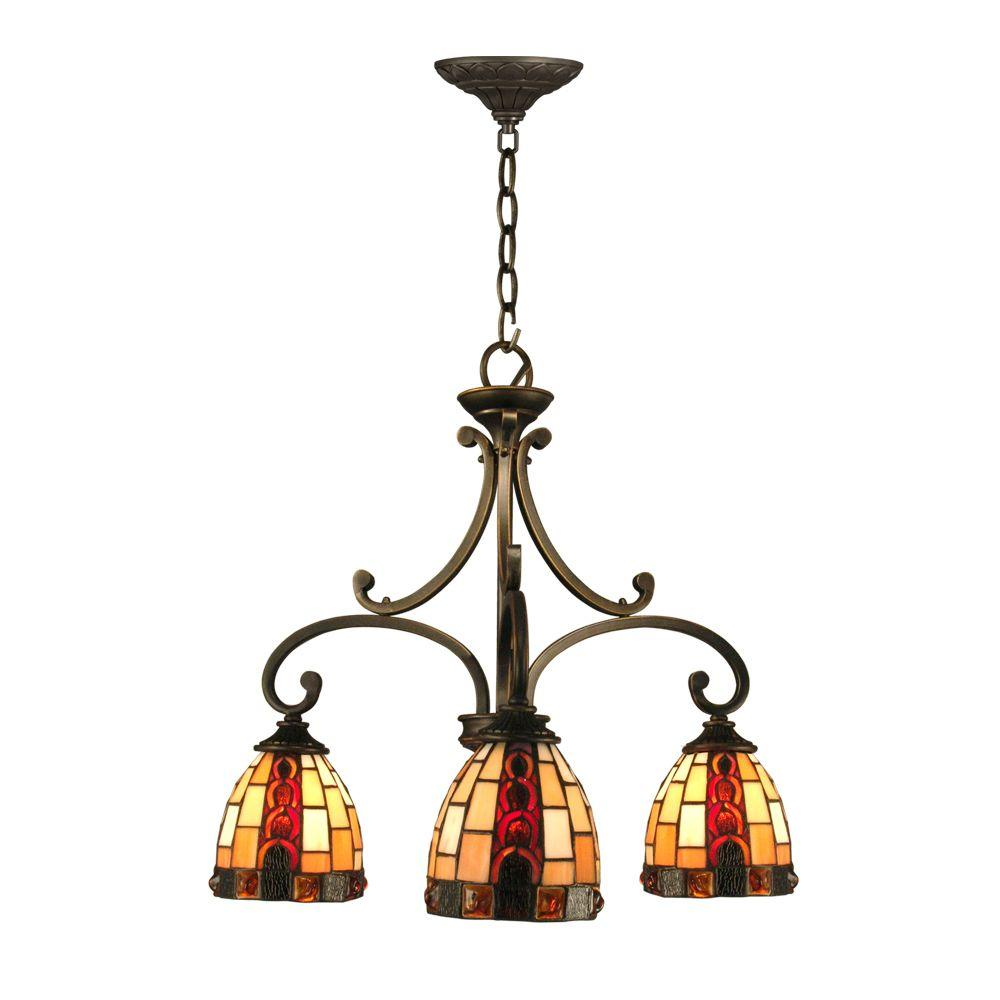Dale Tiffany Baroque 3-Light Antique Bronze Hanging Chandelier