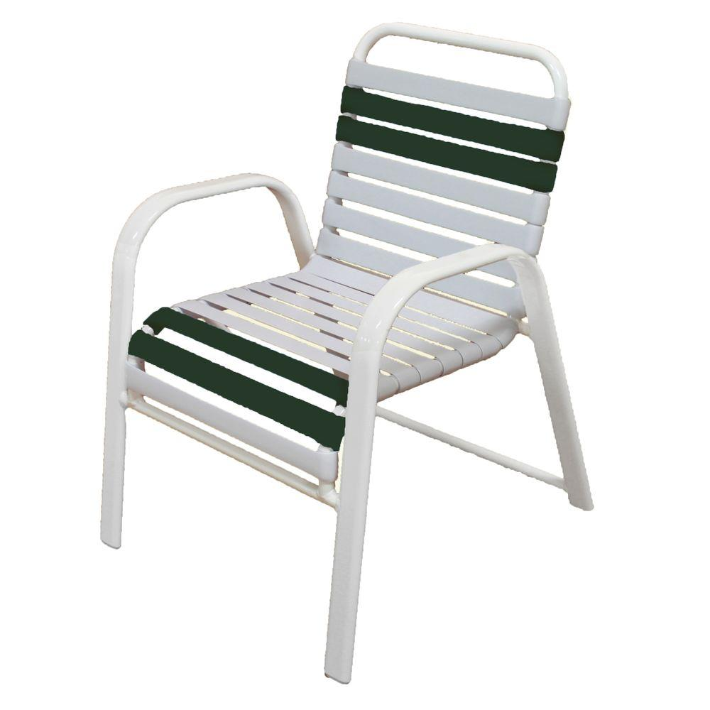 Marco Island White Commercial Grade Aluminum Patio Dining Chair With White And Green Vinyl
