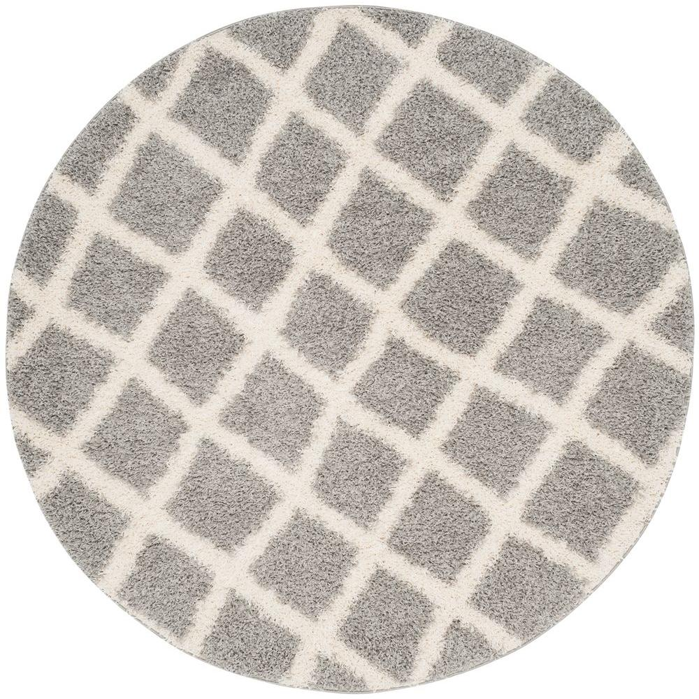 dallas shag grayivory 6 ft x 6 ft round area rug