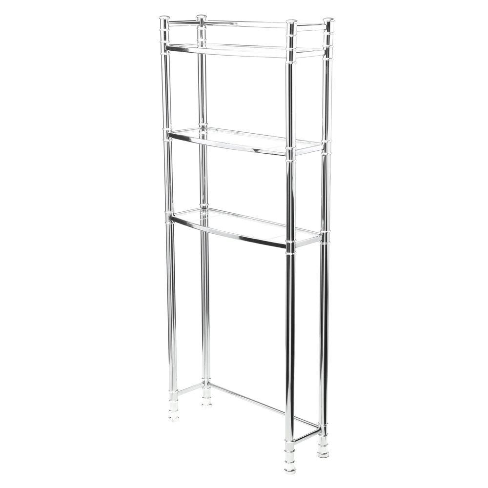 null Studio Accents 25-1/2 in. W Chrome and Glass Space Saver
