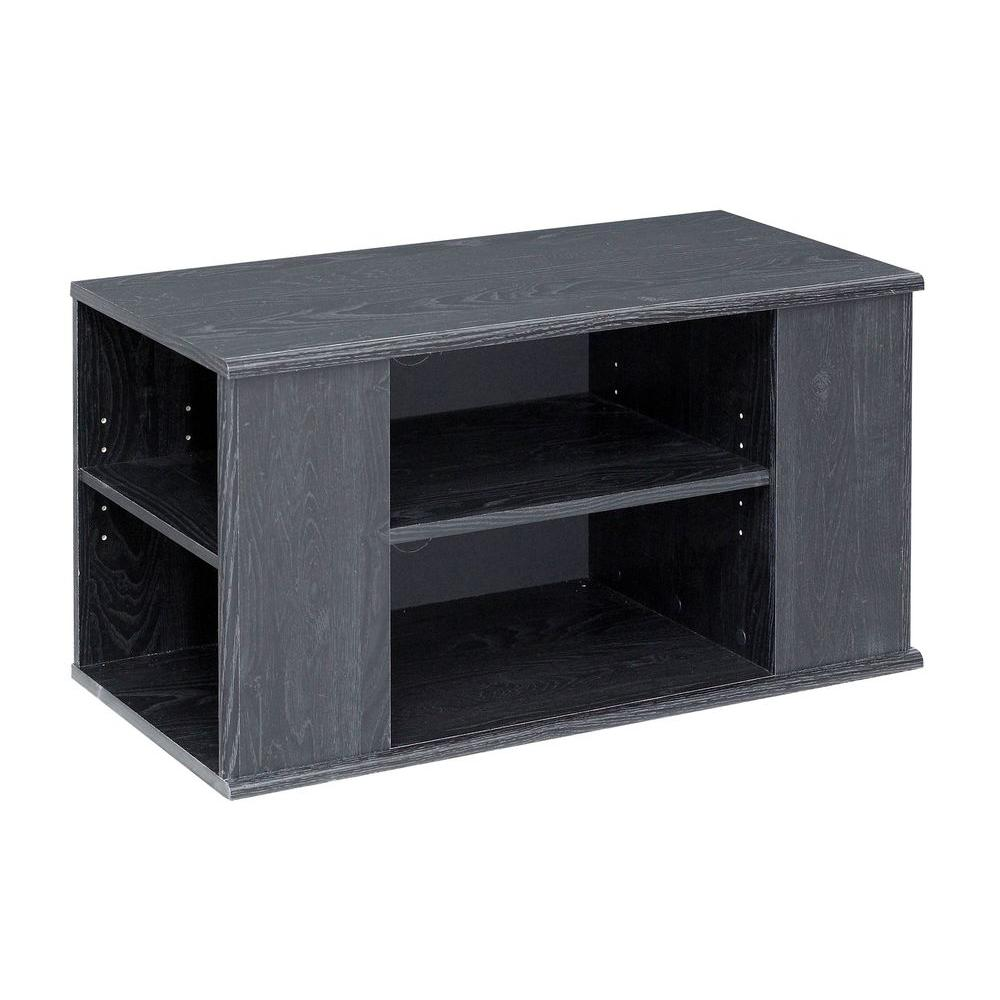 Talon 6-Shelf Laminate TV Stand in Black Oak
