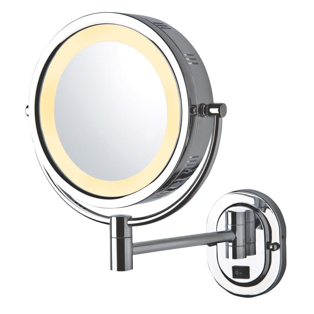 14 in. x 12.75 in. Lighted Wall Mirror in Chrome
