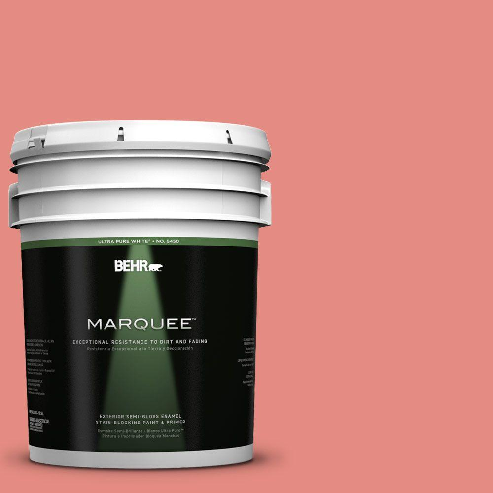 BEHR MARQUEE 5-gal. #190D-5 Peony Pink Semi-Gloss Enamel Exterior Paint