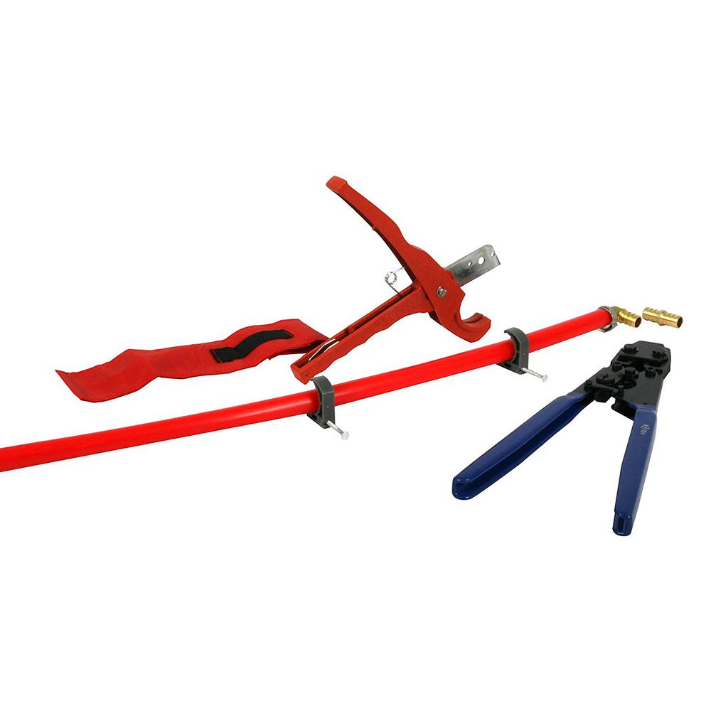the plumber 39 s choice pex plumbing kit crimper cutter tool with lock hook 3 4 in elbow cinch. Black Bedroom Furniture Sets. Home Design Ideas