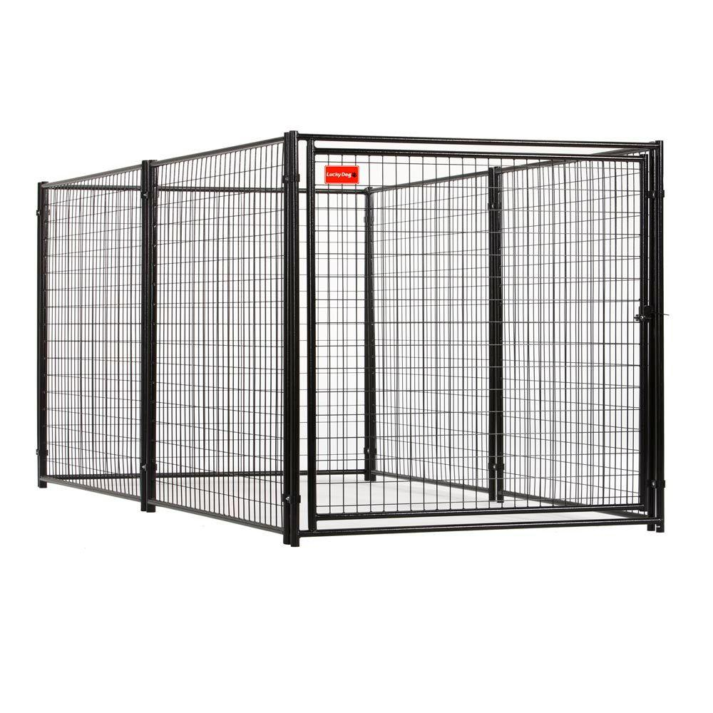 null 4 ft. x 4 ft. x 8 ft. Black Powder Coated Kennel