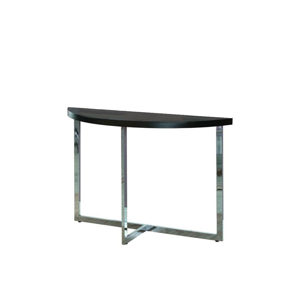 Monarch Specialties Living Room Tables Metal Sofa Cappuccino/Chrome Console Table Cappuccino / Chrome I 3039