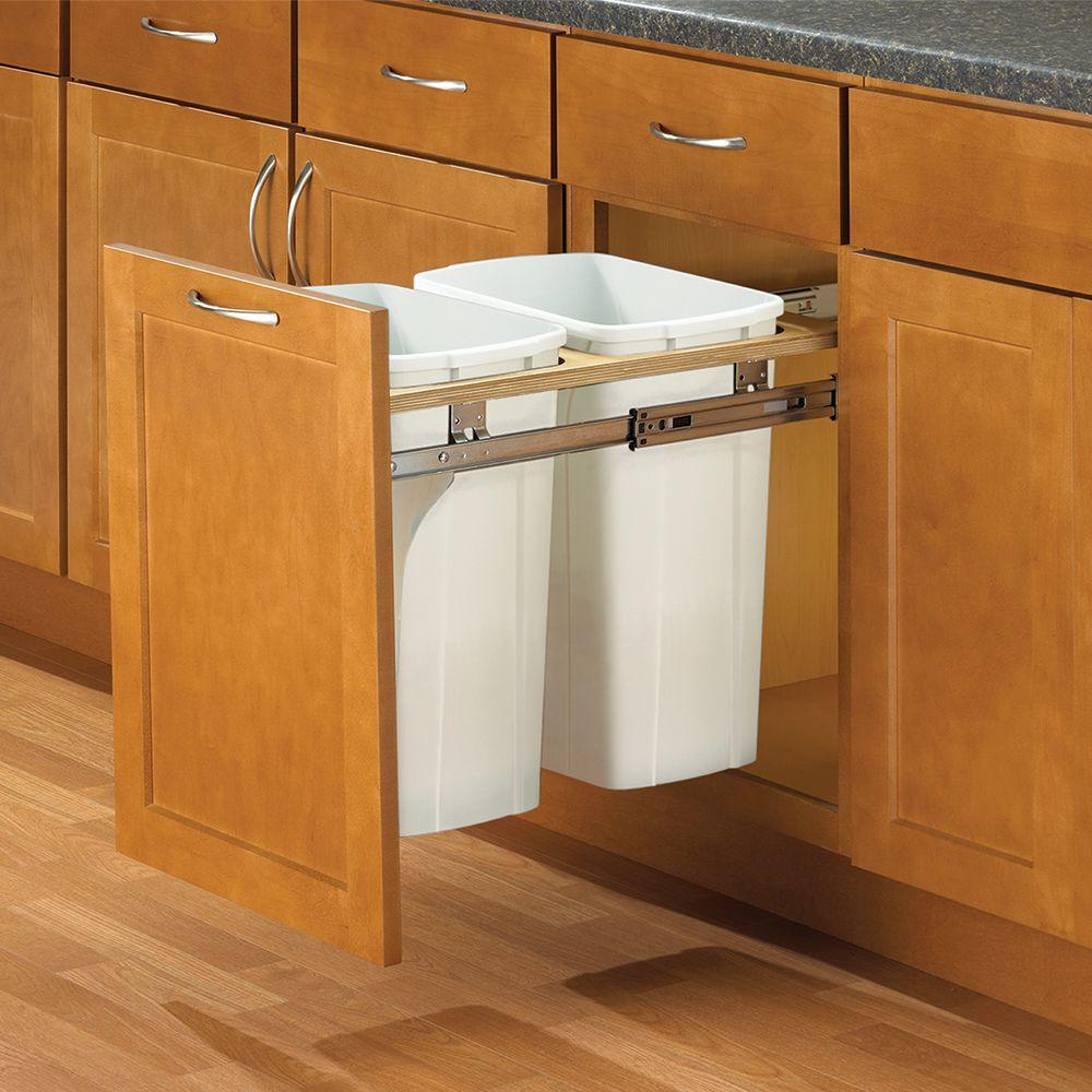 Knape & Vogt 18 in. H x 21 in. W x 23in. D Steel In Cabinet Top Mount 35 Qt. Double Pull Out Trash Can