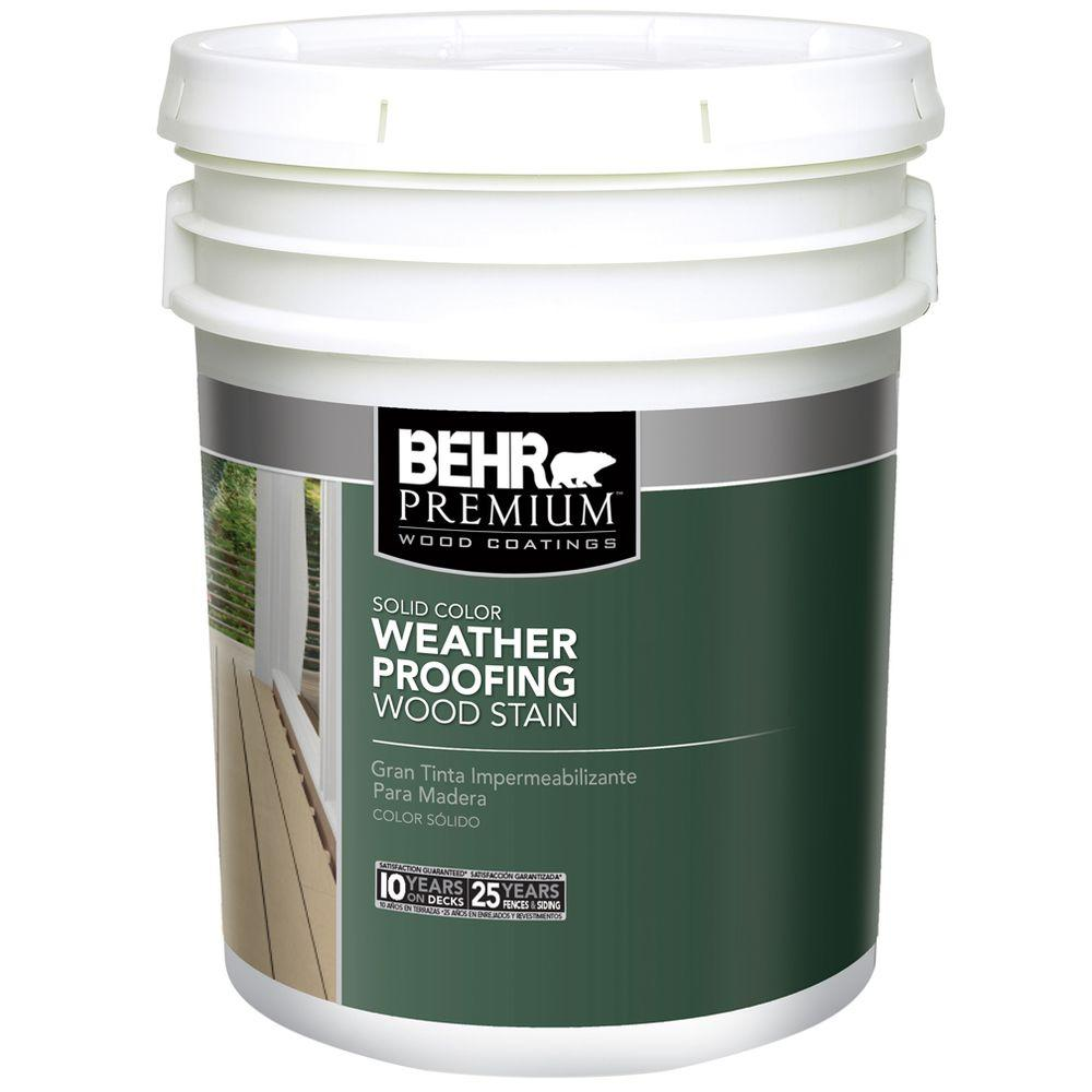 BEHR Premium 5 gal. White Solid Color Weatherproofing All-In-One Wood Stain and Sealer
