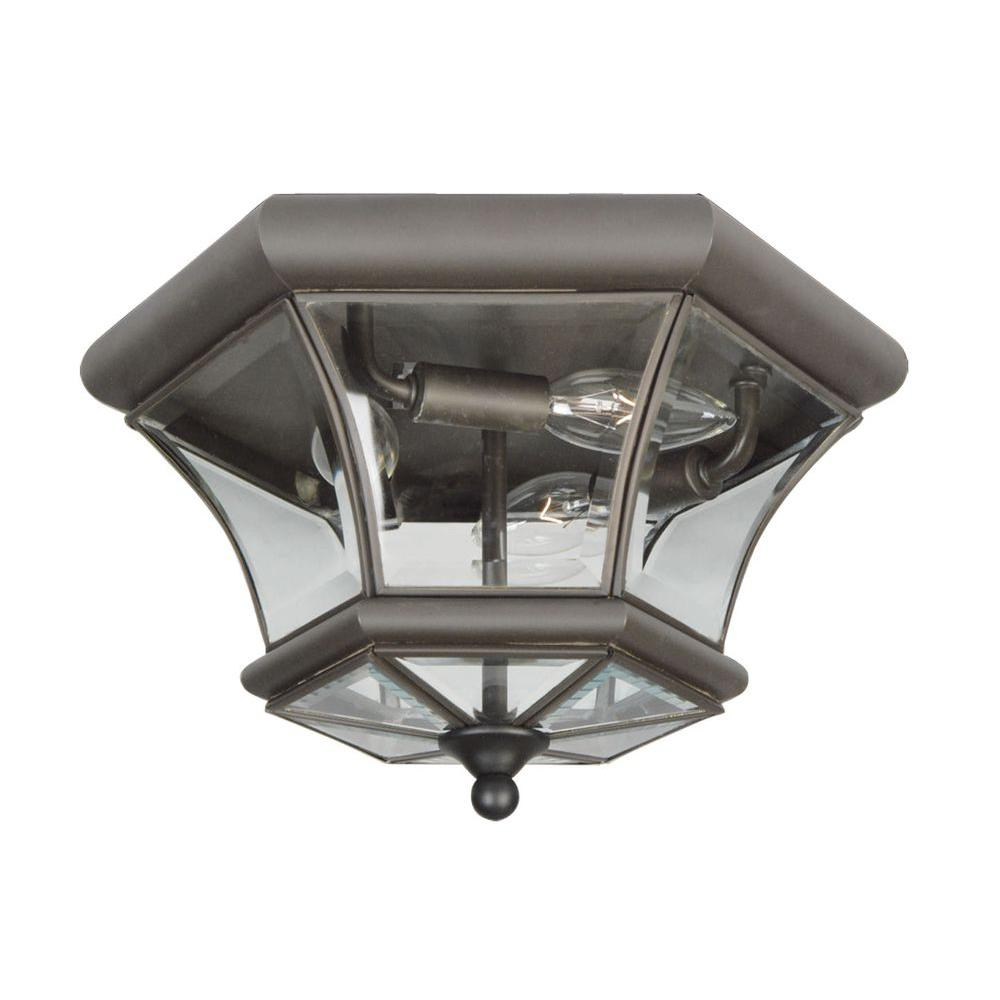 Livex Lighting 3-Light Bronze Flushmount with Clear Beveled Glass Shade-7053-07