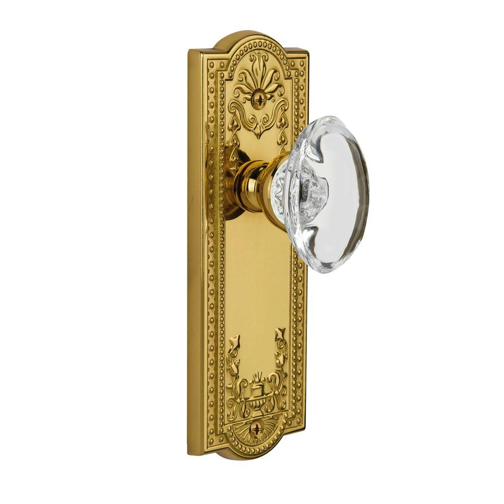 null Grandeur Lifetime Brass Passage Parthenon Plate with Provence Crystal Knob