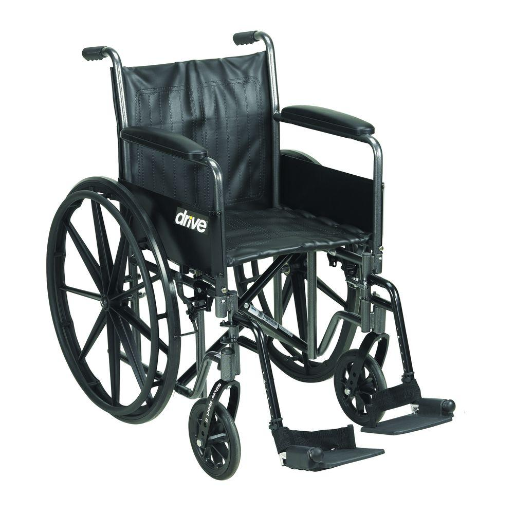 Silver Sport 2 Wheelchair, Detachable Full Arms, Swing Away Footrests and