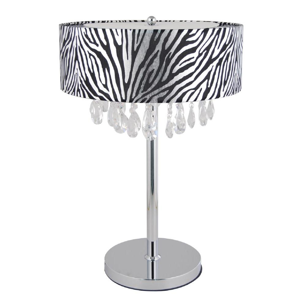 Romazzino Crystal Collection 22.25 in. Chrome Table Lamp with Zebra Print