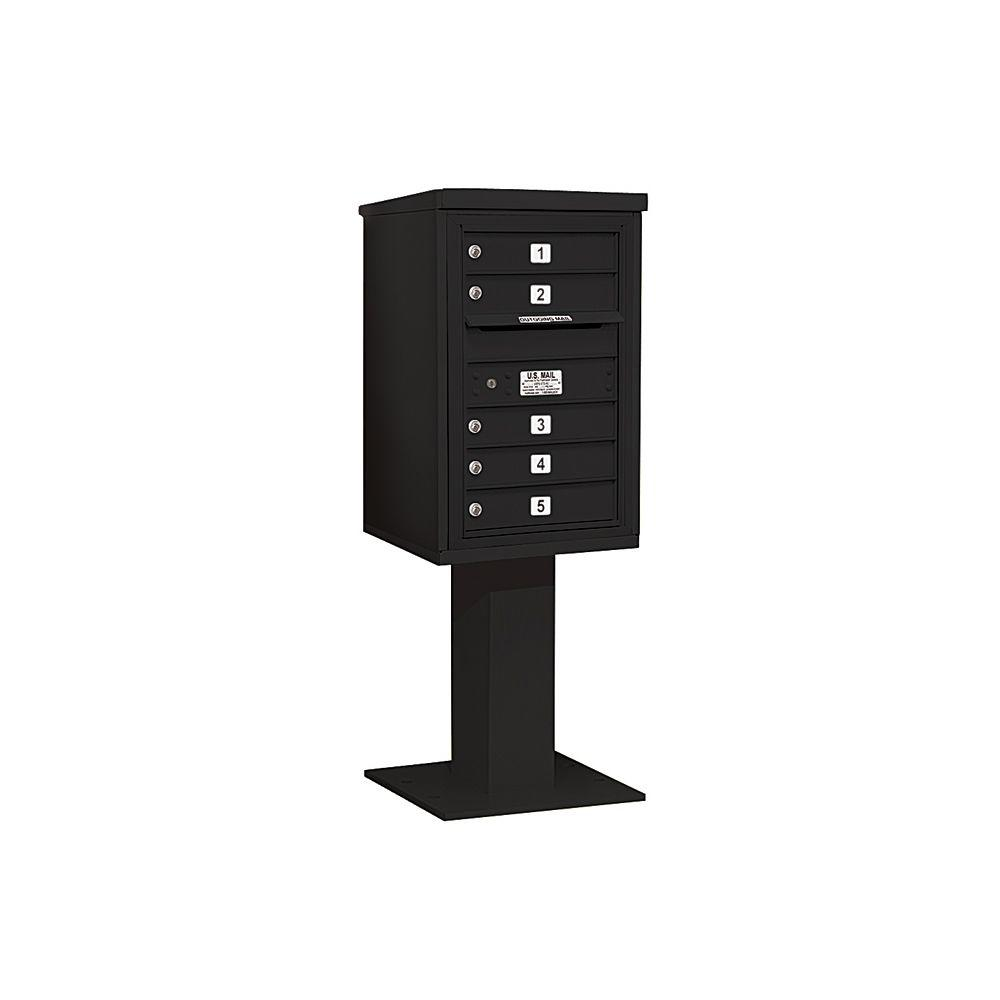 Salsbury Industries 3400 Series 55-1/8 in. 7 Door High Unit Black 4C Pedestal Mailbox with 5 MB1 Doors