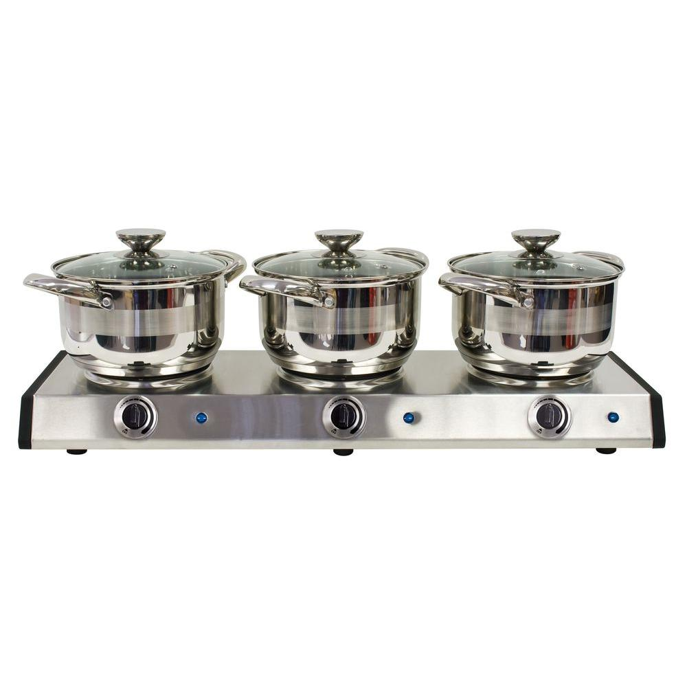 Nostalgia Electrics 2.5-qt. Stainless Steel Triple Burner Kettle Buffet-DISCONTINUED