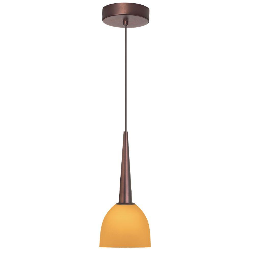 Radionic Hi Tech Industrial Chic 1-Light Oil Brushed Bronze Pendant with Amber Glass