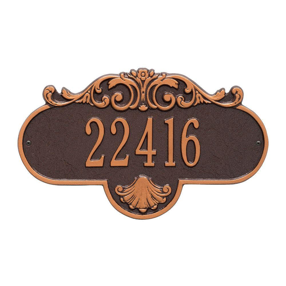 Oval Rochelle Standard Antique Copper Wall 1-Line Address Plaque