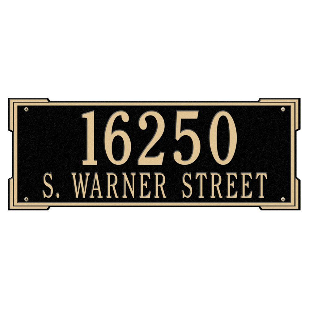 Whitehall Products Rectangular Roanoke Estate Wall 2-Line Address Plaque -