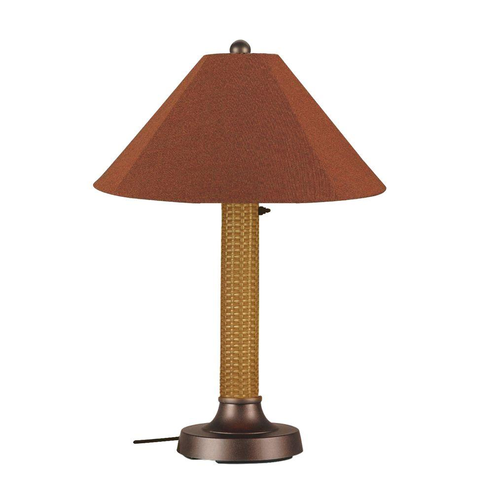 Bahama Weave 34 in. Mocha Cream Outdoor Table Lamp with Chile
