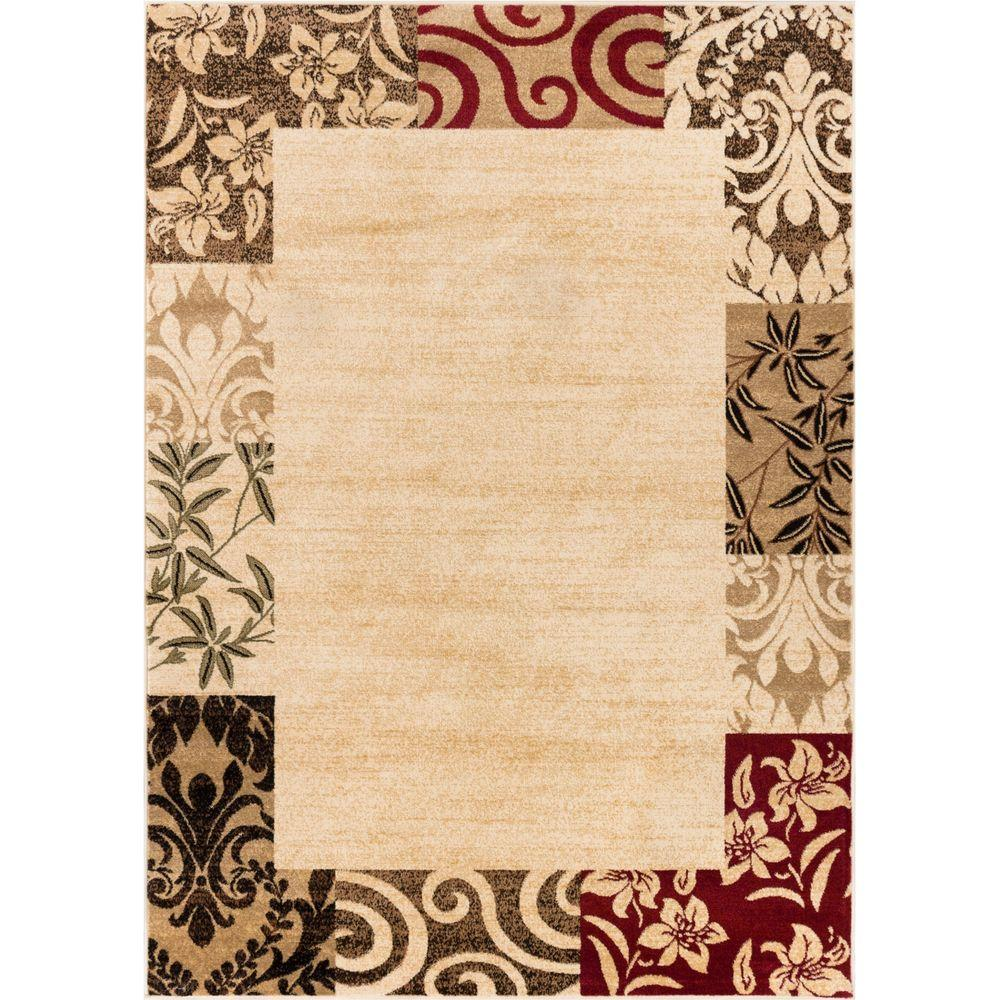 Well Woven Barclay Vane Willow Damask Beige 3 ft. 11 in. x 5 ft. 3 in. Transitional Area Rug