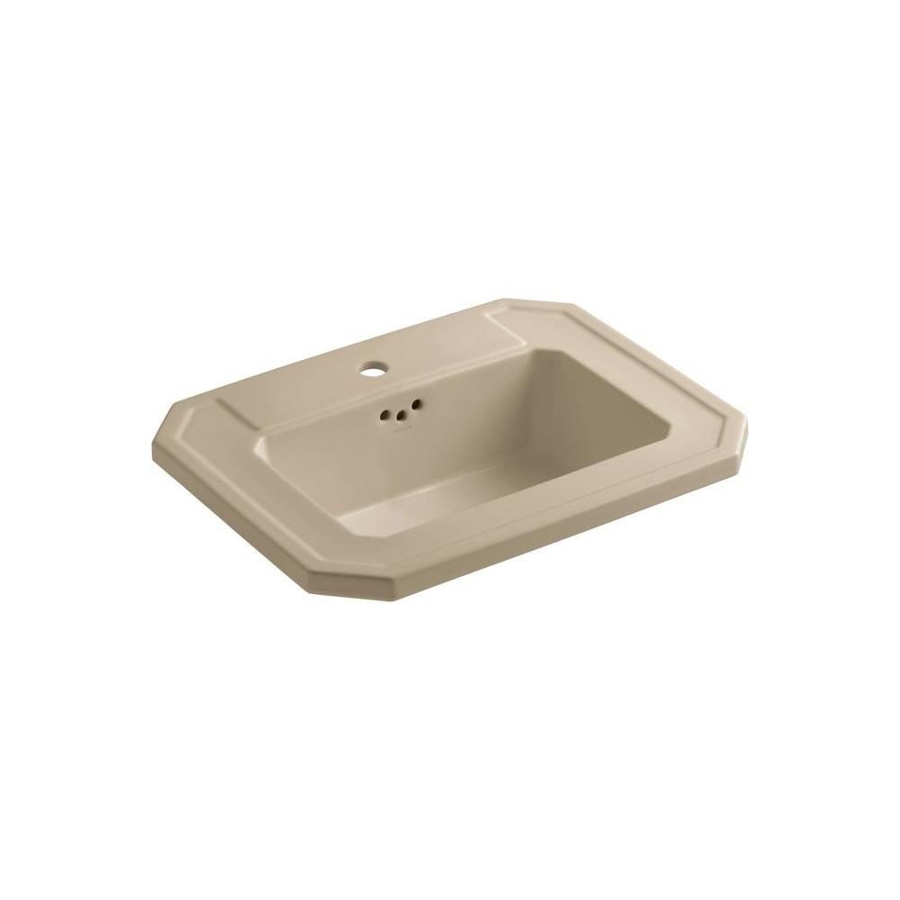 Kathryn Drop-In Vitreous China Bathroom Sink in Mexican Sand with Overflow