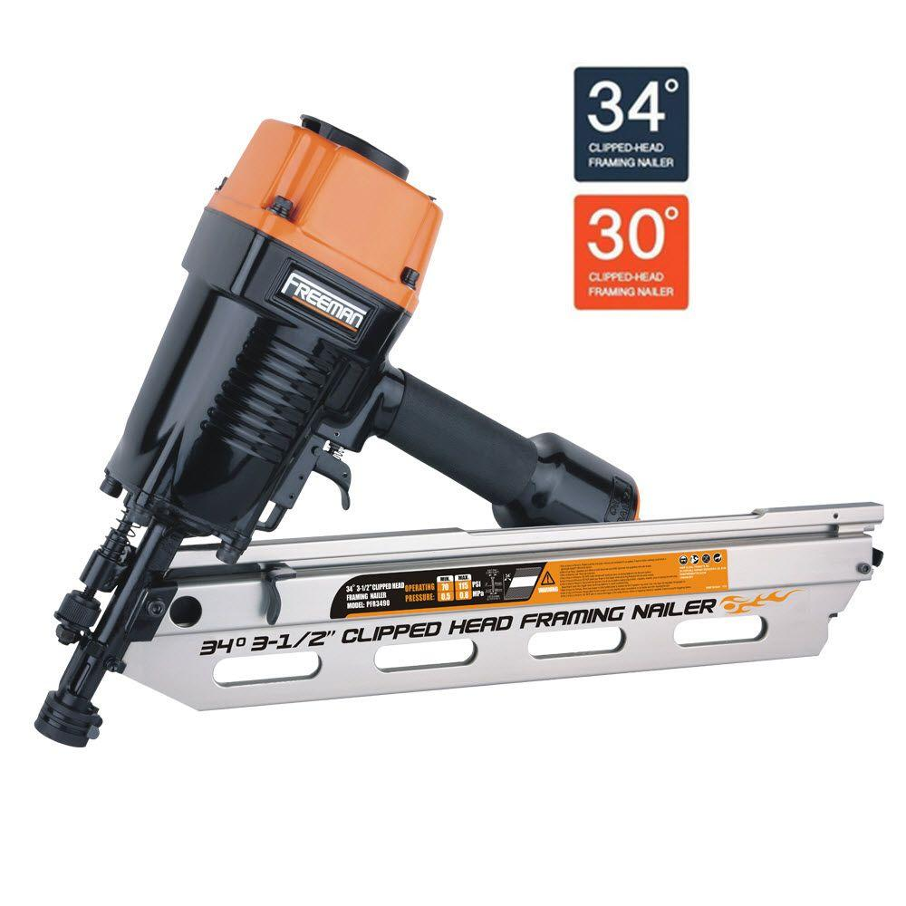 Freeman Pneumatic 34-Degree Clipped Head Framing Nailer-PFR3490 - The Home Depot