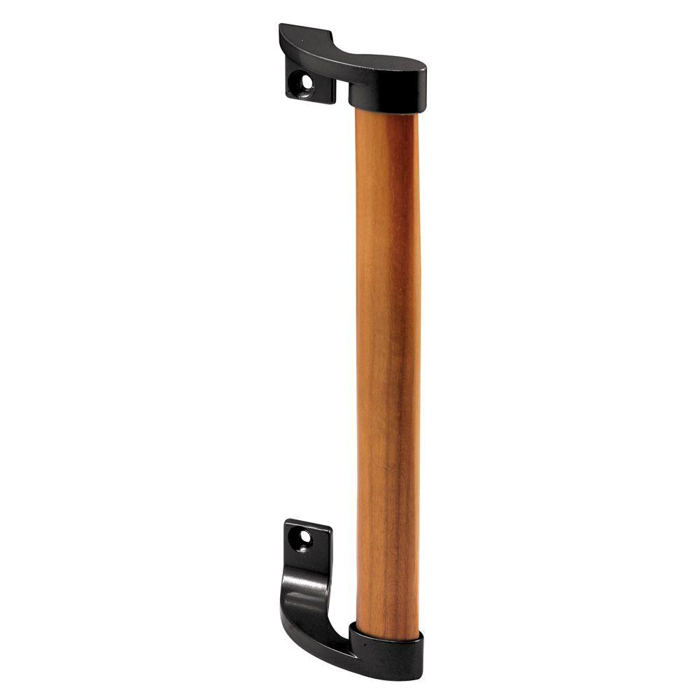 Wood Handle Black Brackets 6-5/8 in. Holes Sliding Door Pull