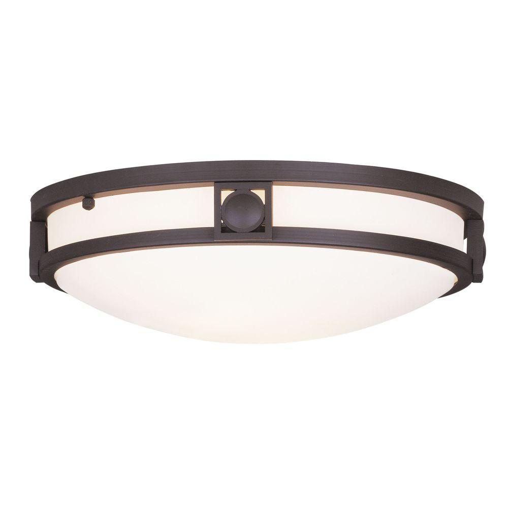 Providence 2-Light Bronze Flushmount with Satin White Glass