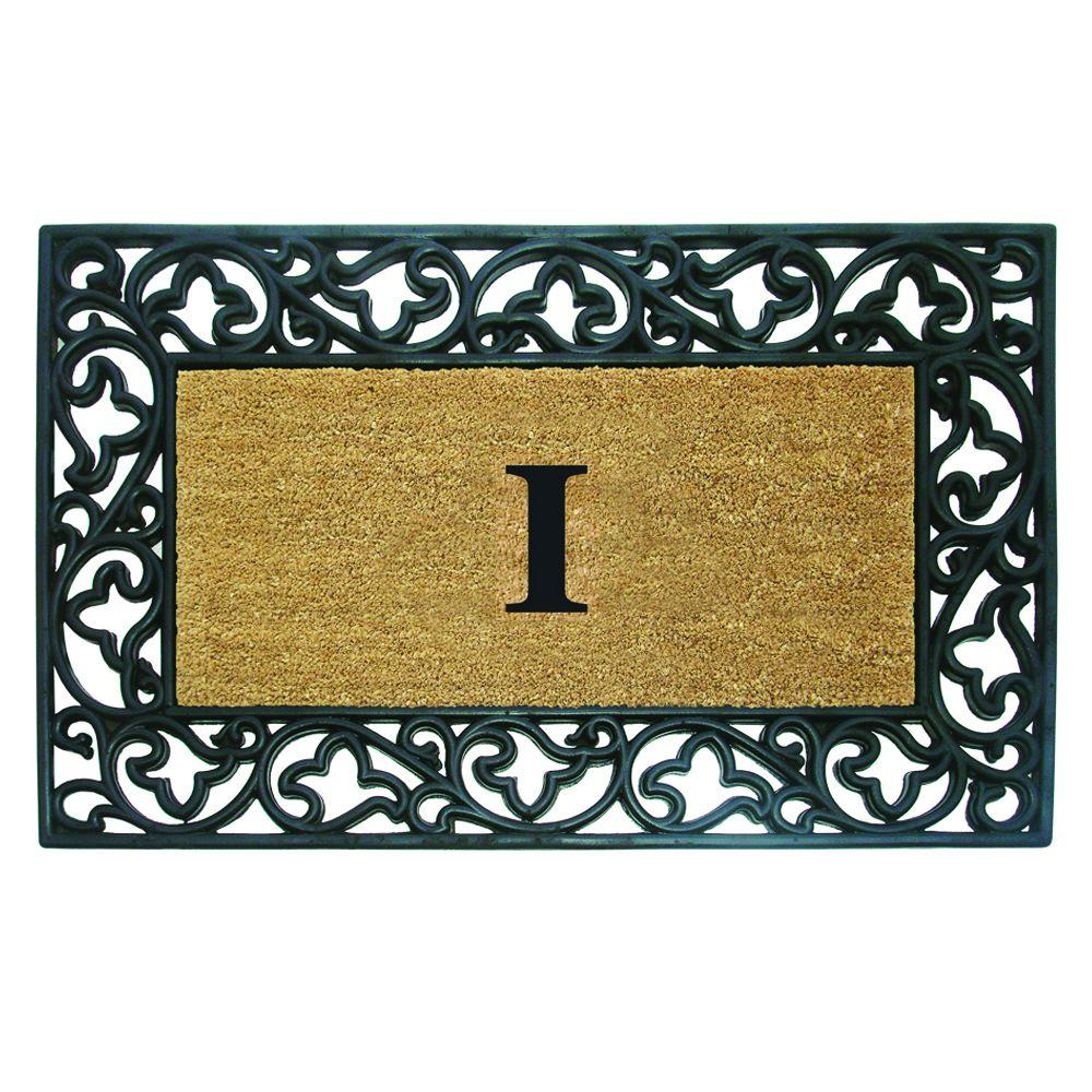 Acanthus Border 30 in. x 48 in. Rubber Coir Monogrammed I