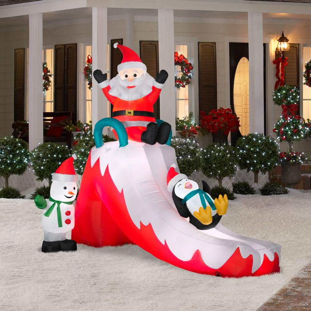 8 h giant christmas santa penguin snowman slide airblown for Airblown christmas decoration