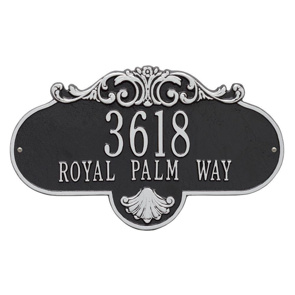 Whitehall Products Oval Rochelle Grande Black/Silver Wall 2-Line Address