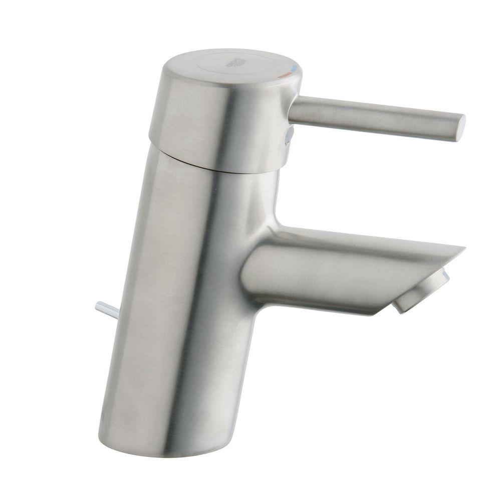 GROHE Concetto Single Hole 1-Handle Low-Arc Bathroom Faucet in Brushed Nickel-DISCONTINUED