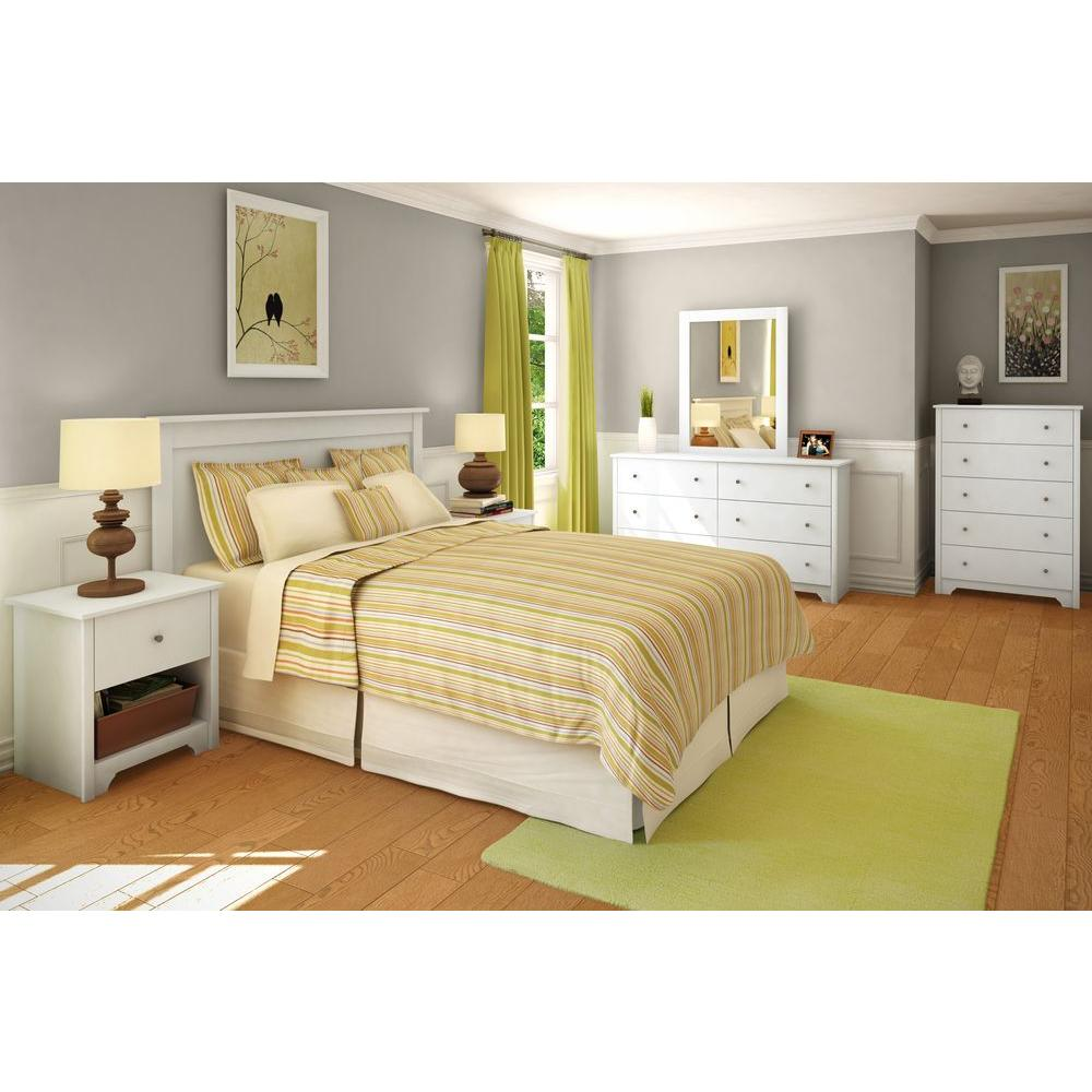 South shore vito full queen size headboard in pure white - Queen size bedroom furniture sets ...