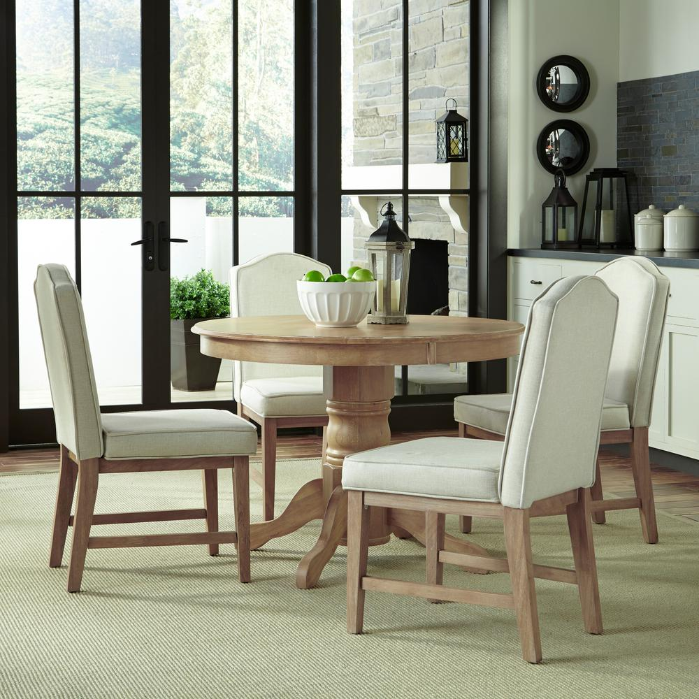 Classic 5-Piece White Wash Upholstered Dining Set