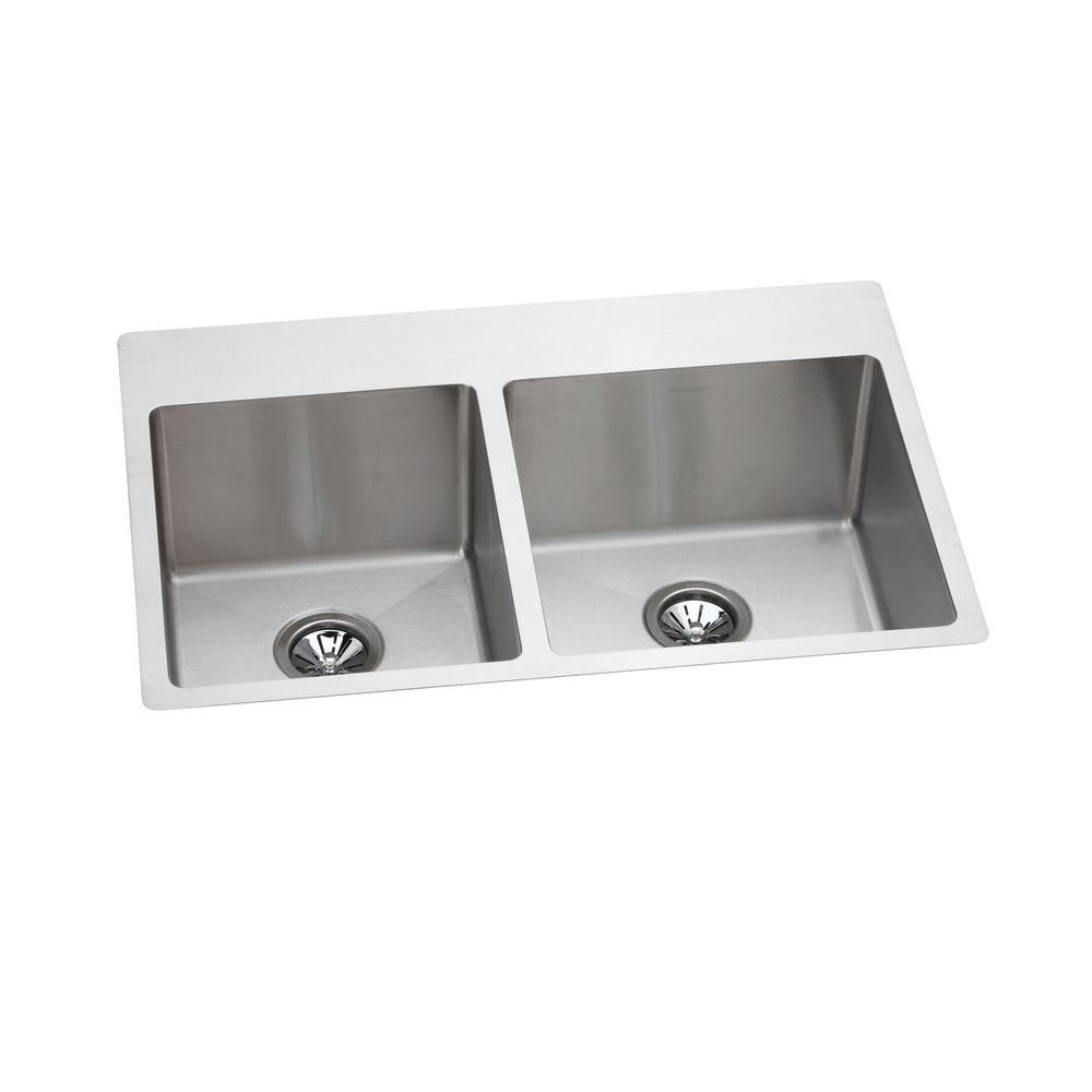 Elkay Avado Slim Rim Universal Mount Stainless Steel 22x33x10 4-Hole Double Bowl Kitchen Sink