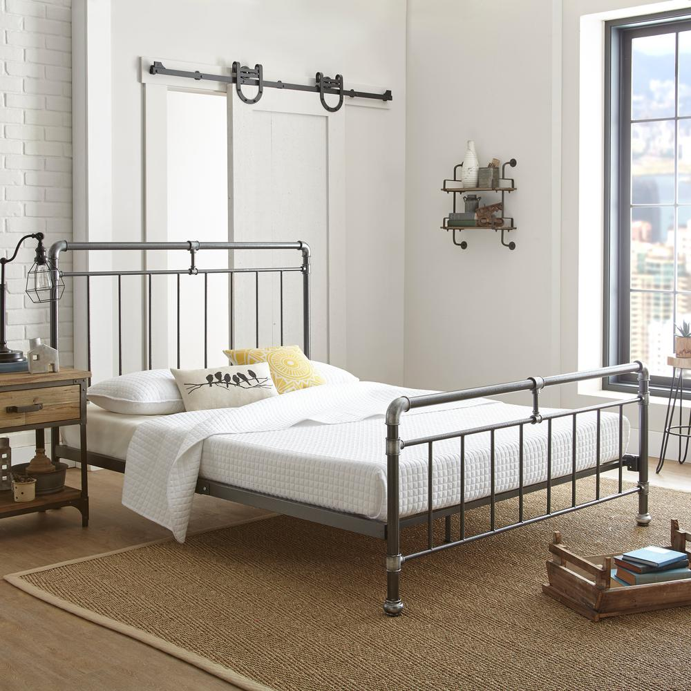 Pewter Bedroom Furniture Rest Rite Antique Pewter Queen Platform Bed Hd35920qn The Home Depot