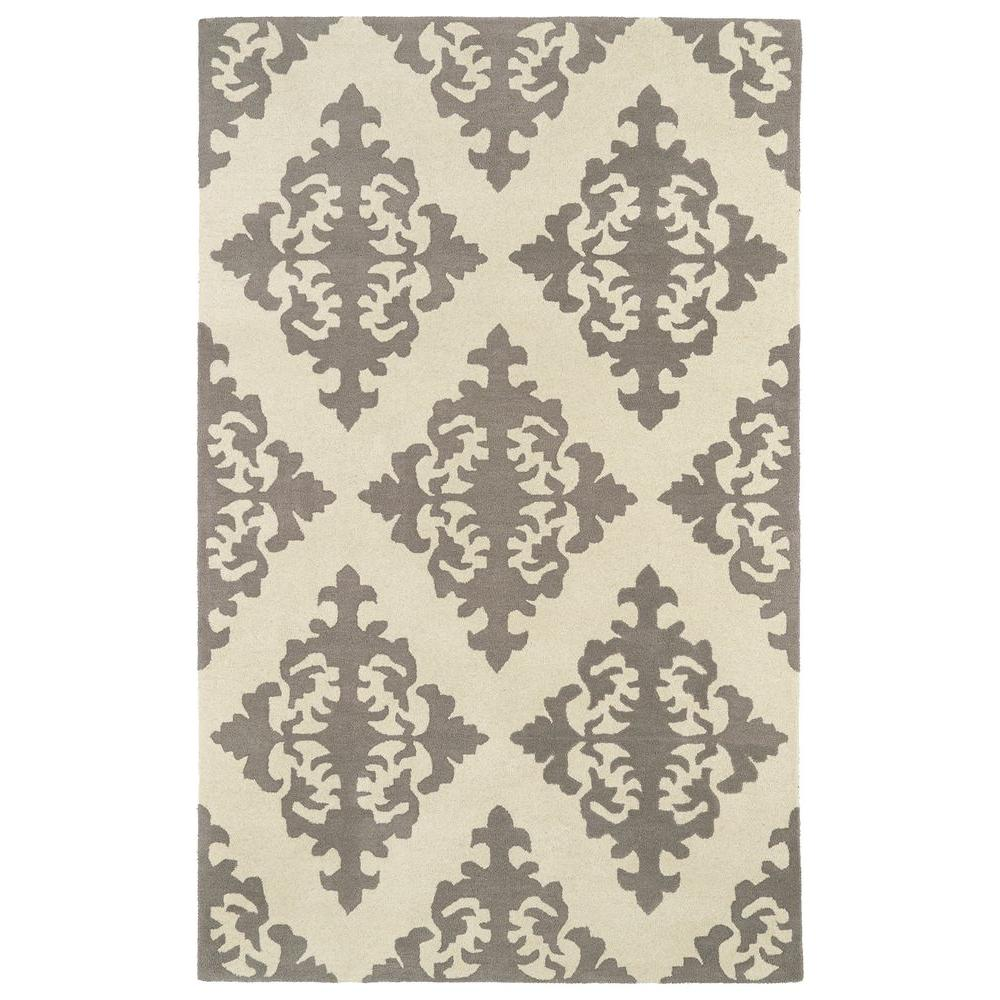 Contemporary Indoor/Outdoor Area Rug: Kaleen Rugs Evolution Grey 9 ft. 6 in. x 13 ft. EVL05-75-9.6 X 13