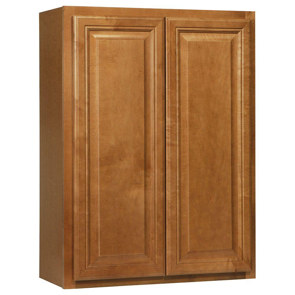 Hampton Bay Assembled 27x36x12 in. Cambria Wall Cabinet in Harvest