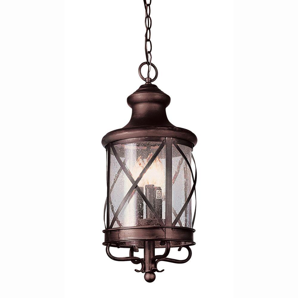 Bel Air Lighting Carriage House 3-Light Outdoor Antique Copper Hanging Lantern with Seeded Glass
