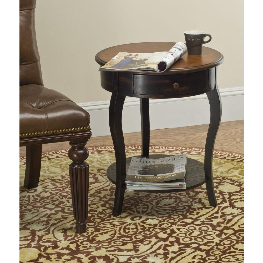 Emma Tiger Dark Brown and Light Brown Side Table