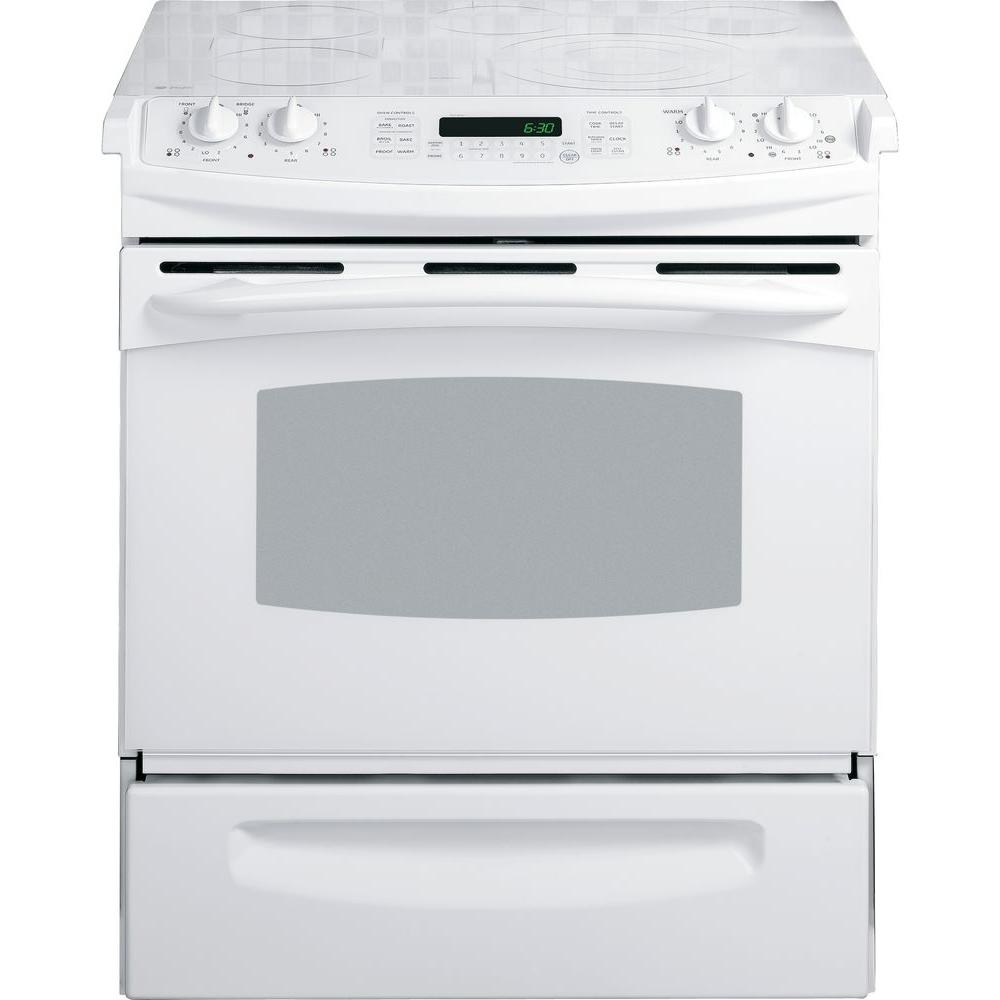 GE Profile 4.1 cu. ft. Slide-In Electric Range with Self-Cleaning Convection Oven in White