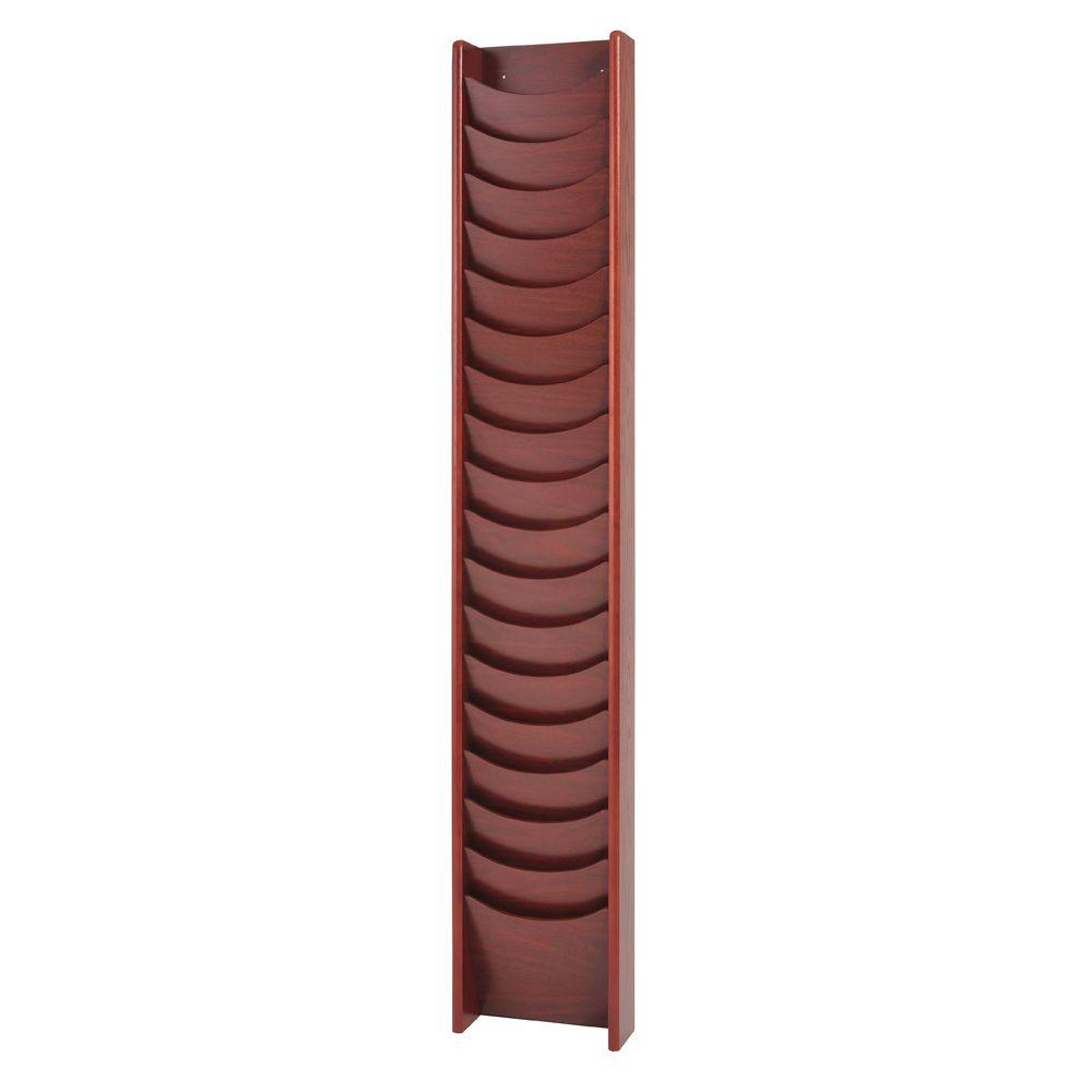 Buddy Products Solid Oak 18-Pocket Literature Display Rack in Mahogany-0613-16 -