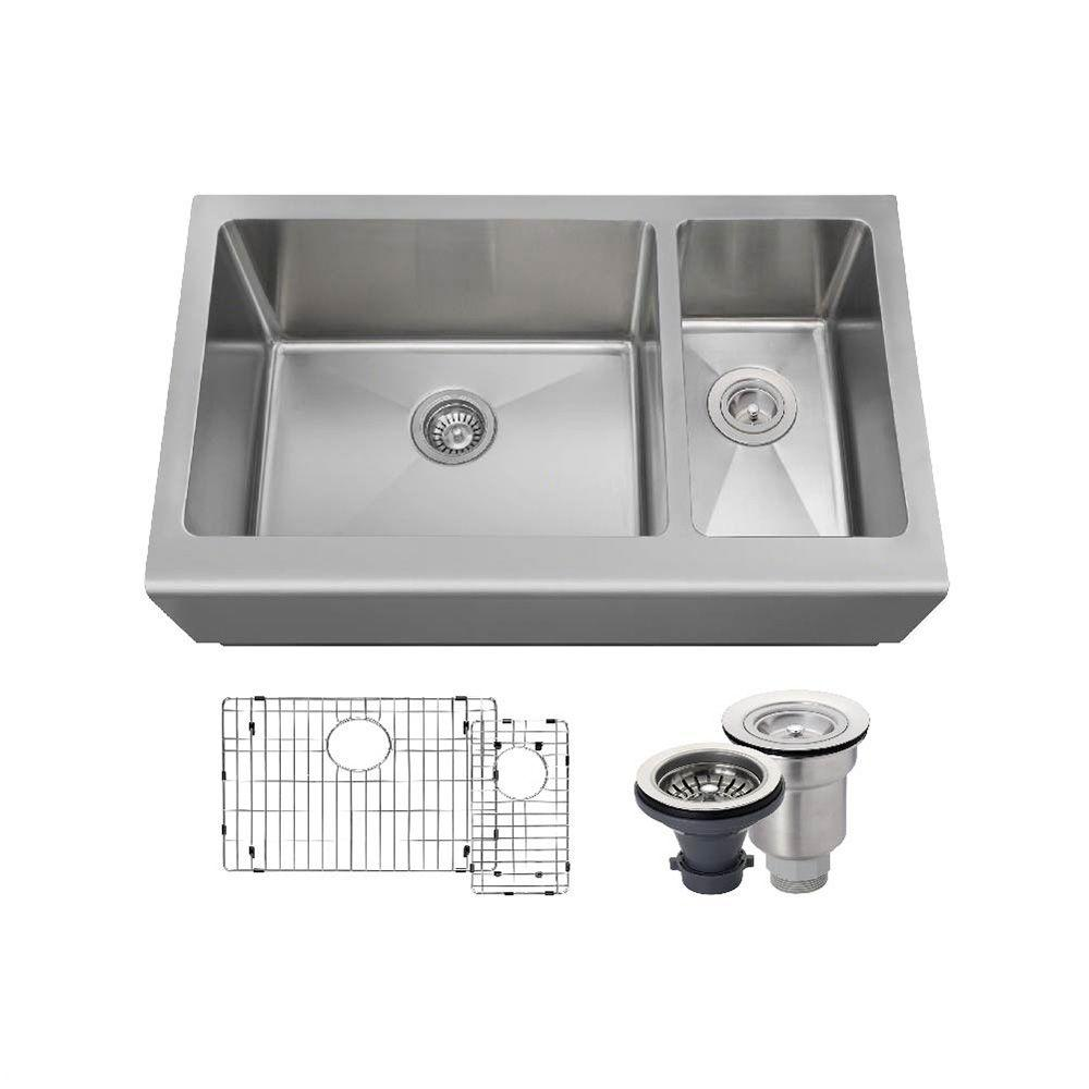 All-in-One Farmhouse Apron Front Stainless Steel 33 in. Left Double Bowl