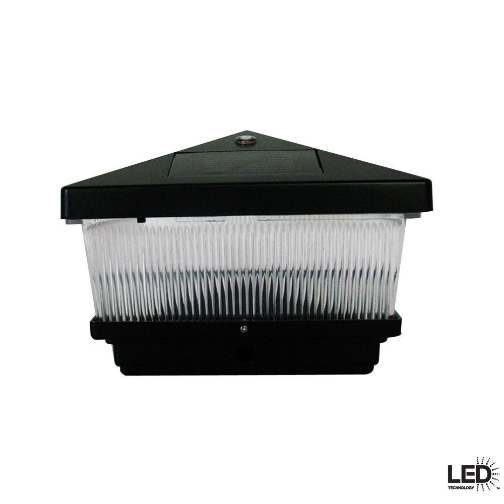 Hampton Bay Black Solar Post Cap LED Light with 6 x 6 Adapter (2-Pack)