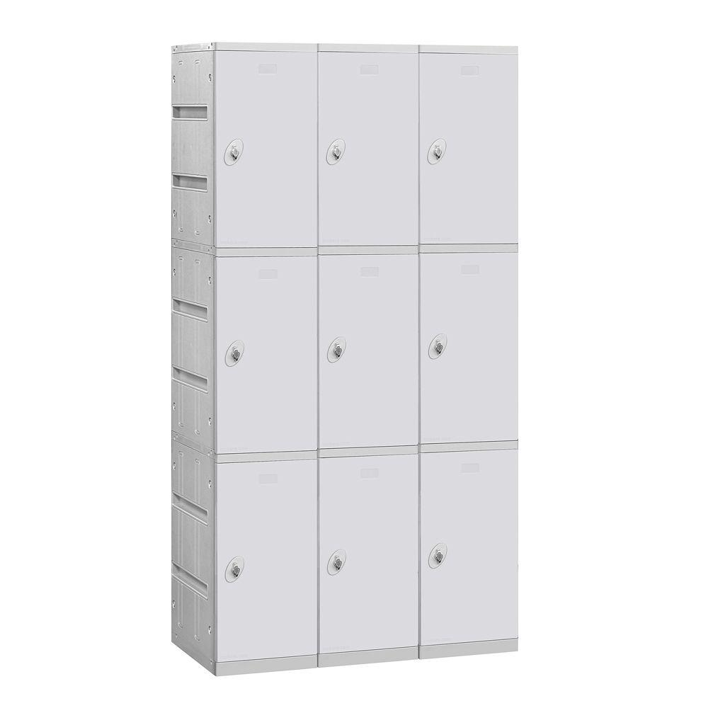 Salsbury Industries 93000 Series 38.25 in. W x 74 in. H x 18 in. D 3-Tier Plastic Lockers Unassembled in Gray