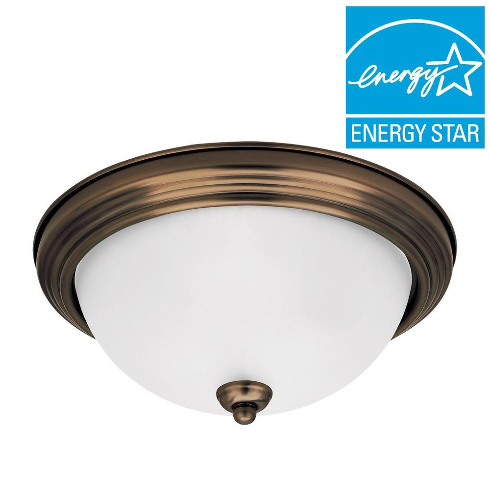 Sea Gull Lighting 1-Light Russet Bronze Medium LED Flushmount