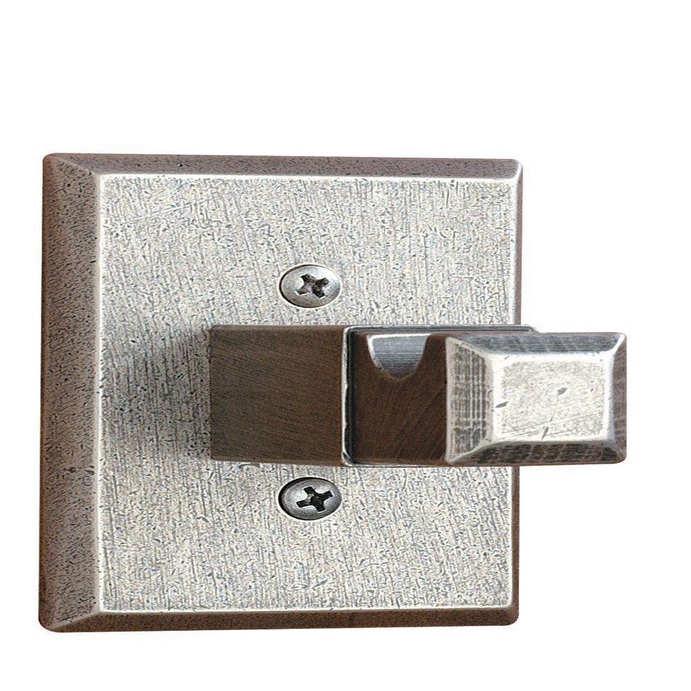 AIW Square Base Single Robe Hook in Distressed Nickel
