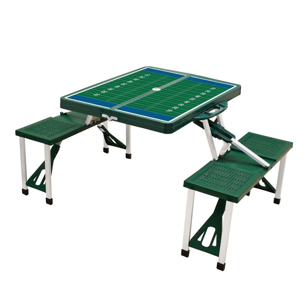 Picnic Time Hunter Green Sport Compact Patio Folding Picnic Table with Football Field Pattern