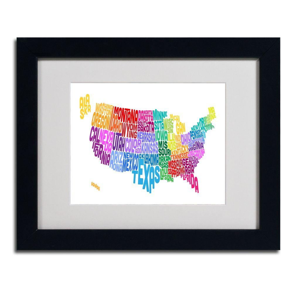 11 in. x 14 in. USA States Text Map 3 Matted