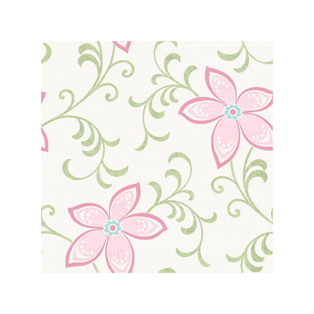 Khloe Pink Girly Floral Scroll Wallpaper